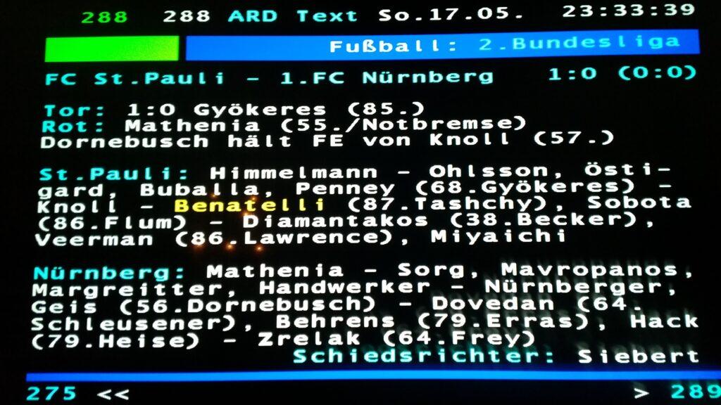 ARD Videotext, FC St. Pauli - 1. FC Nürnberg