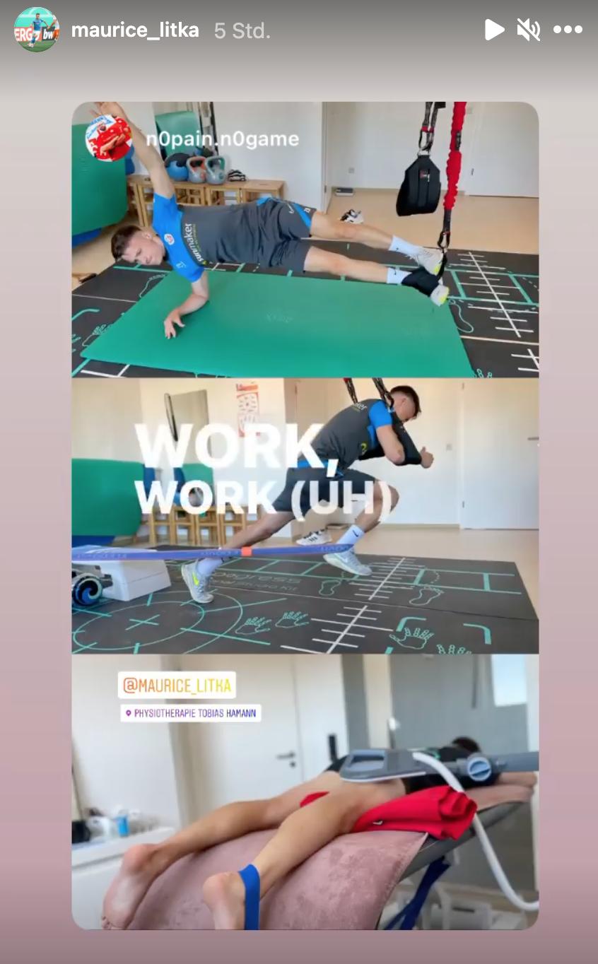 Maurice Litka beim Reha-Training